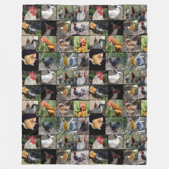 Chickens And Roosters Photo Collage, Fleece Blanket