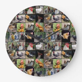 Chickens And Roosters Photo Collage, Large Clock
