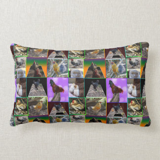 Chickens And Roosters Photo Collage, Lumbar Cushion