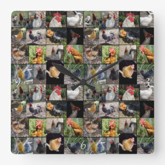 Chickens And Roosters Photo Collage, Square Wall Clock