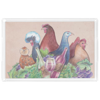 Chickens and Wine Acrylic Tray