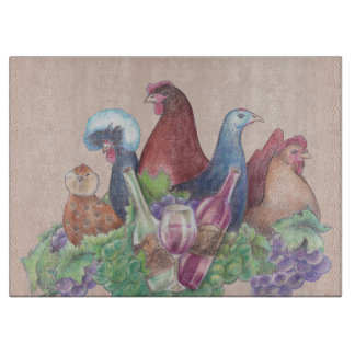 Chickens and Wine Cutting Board