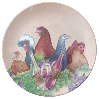 Chickens and Wine Plate