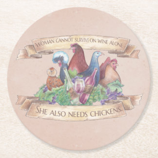 Chickens and Wine Round Paper Coaster