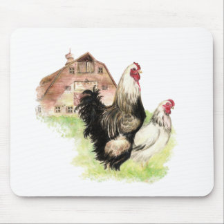 Chickens & Barn Farm Scene to Customize Mouse Mat