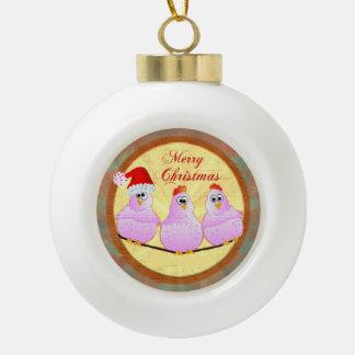 Chickens Christmas Ceramic Ball Christmas Ornament