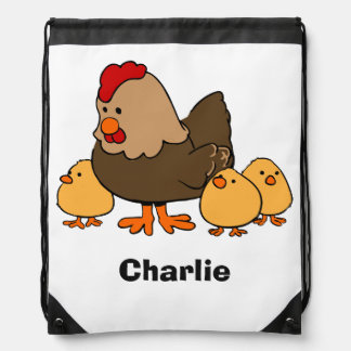 Chickens illustration custom name kid's backpack