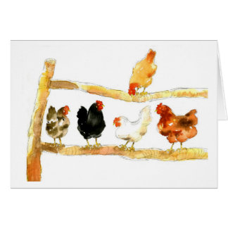 Chickens on a fence card