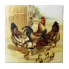 Chickens Rooster and Chicks Tile