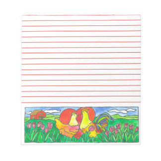Chickens Watercolor Illustration Red Lined Notepad
