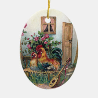 Chickens With Lute and Egg House Christmas Ornament
