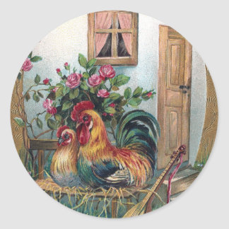 Chickens With Lute and Egg House Round Stickers