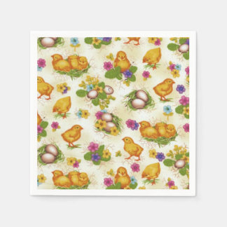 Chicks and Easter Eggs Disposable Serviettes