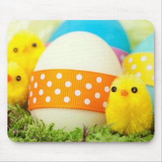 chicks and easter eggs mouse pad
