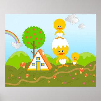 Chicks and orange tree poster