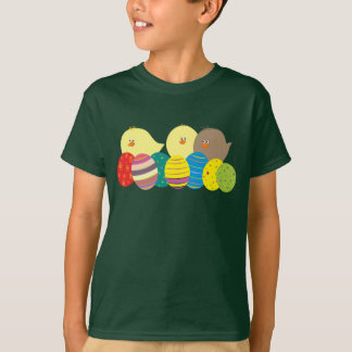 Chicks Cute Deep Forest Green Color Happy Easter T-Shirt