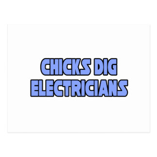 Chicks Dig Electricians Postcard