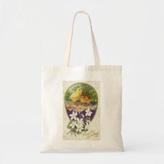 Chicks-Easter Greetings - Vintage Budget Tote Bag