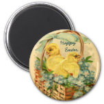 Chicks in a Basket Vintage Easter Magnet