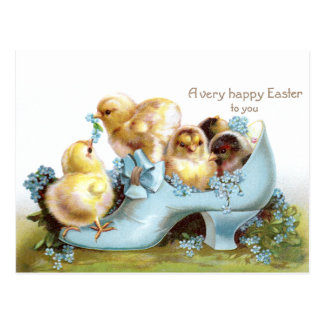 Chicks in a Shoe Vintage Easter Card