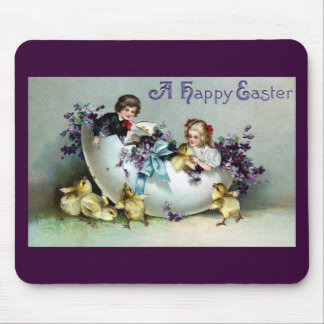 Chicks, Kids, Violets and Giant Eggshell Vintage Mouse Pad