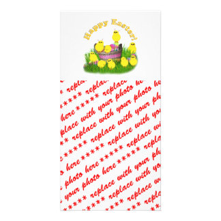 Chicks 'n a Easter Basket (Yellow Text) Customized Photo Card