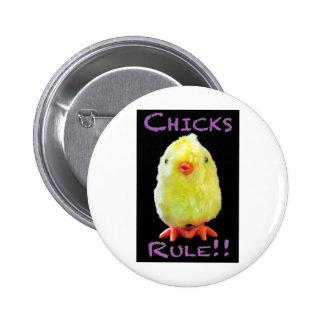 Chicks Rule Portrait on Black 6 Cm Round Badge
