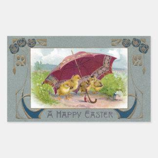 Chicks Under Umbrella Art Nouveau Easter Rectangular Sticker