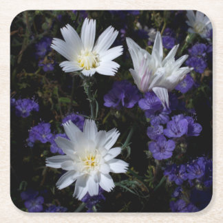 Chicory and Phacelia Wildflowers Square Paper Coaster