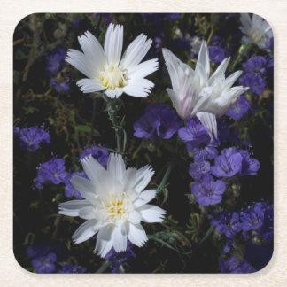 Chicory and Phacelia Wildflowers Square Paper Coaster