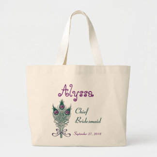 Chief Bridesmaid Peacock Feather Teal Purple Bags
