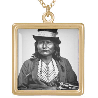 Chief Esatonyett, 1869 (b/w photo) Gold Plated Necklace