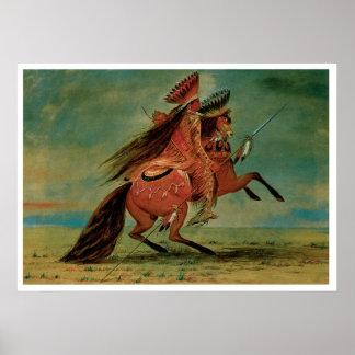 Chief Indian Warrior Vintage Art Print Poster