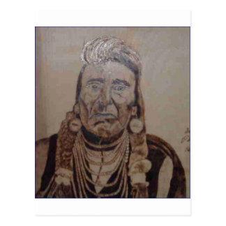 Chief Joseph wood burning Postcards