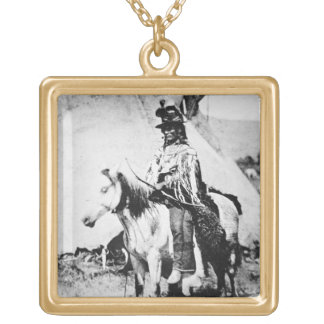 'Chief Looking Glass', c.1875 (b/w photo) Square Pendant Necklace