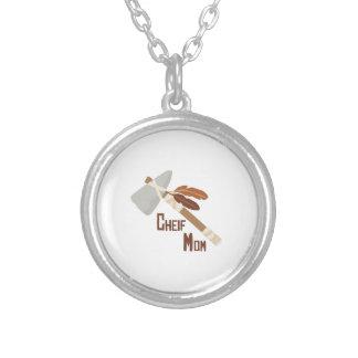 Chief Mom Round Pendant Necklace