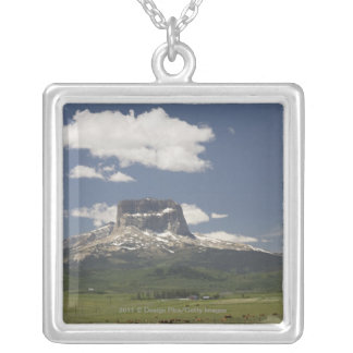 Chief Mountain With Pastures Of Grazing Cattle Square Pendant Necklace