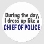 Chief Of Police During The Day Round Stickers