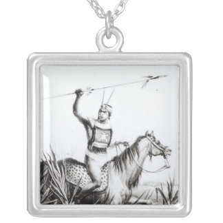 Chief of the Charruas, engraved by C. Motte Square Pendant Necklace