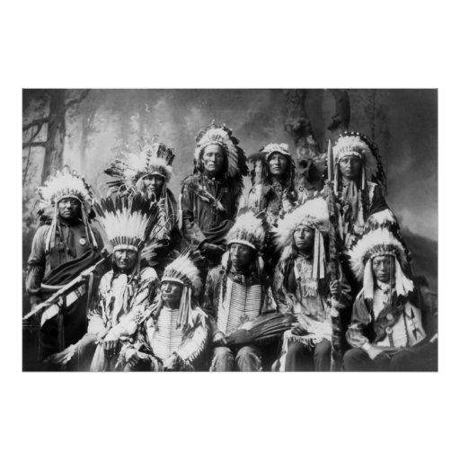 Chief Red Cloud With Other Chiefs: 1899 Poster