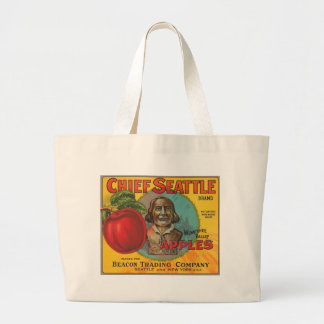 Chief Seattle Brand Apples Vintage Crate Label Large Tote Bag