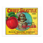 Chief Seattle Vintage Apples Label Postcard