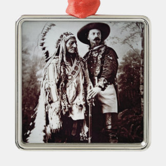 Chief Sitting Bull (1831-90) on tour with Buffalo Silver-Colored Square Decoration