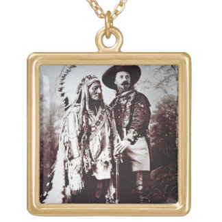 Chief Sitting Bull (1831-90) on tour with Buffalo Square Pendant Necklace