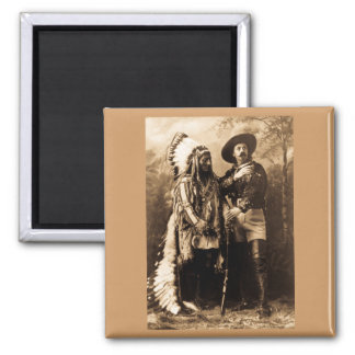 Chief Sitting Bull and Buffalo Bill 1895 Square Magnet