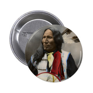 Chief Strikes With Nose, Oglala Sioux  1899 6 Cm Round Badge