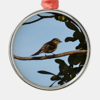 Chiffchaff Silver-Colored Round Decoration