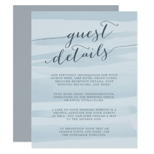 Chiffon Watercolor Guest Details Card | Sky