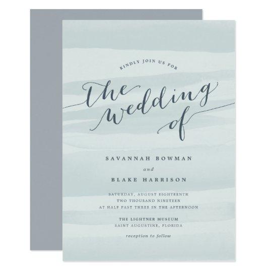 Chiffon Watercolor Wedding Invitation   Sea