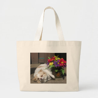 Chihuahua And Flowers Large Tote Bag
